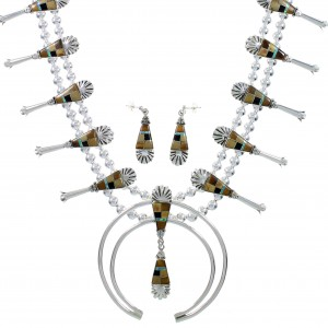Southwestern Multicolor Sterling Silver Squash Blossom Necklace Set AX94373