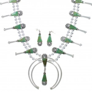 Turquoise Sterling Silver Squash Blossom Necklace Set AX94374