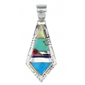 Multicolor Inlay Silver Southwest Water Wave Pendant AX94488