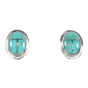 Authentic Sterling Silver Southwestern Turquoise Post Earrings AX95002