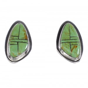 Silver Turquoise Inlay Jewelry Post Earrings AX95014