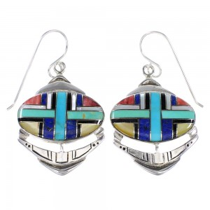 Authentic Sterling Silver Multicolor Southwestern Hook Dangle Earrings YX94627
