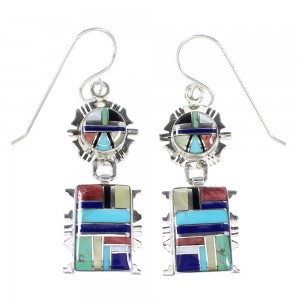 Multicolor And Sterling Silver Southwest Hook Dangle Earrings YX94689