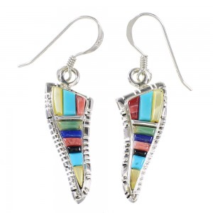 Multicolor And Authentic Sterling Silver Southwestern Hook Dangle Earrings YX94704