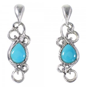 Southwest Turquoise Authentic Sterling Silver Post Dangle Earrings YX94537