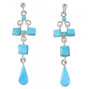 Southwestern Turquoise And Genuine Sterling Silver Post Dangle Earrings YX94539