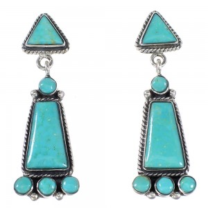 Turquoise Genuine Sterling Silver Southwest Post Dangle Earrings YX94550