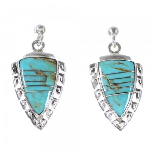 Turquoise Sterling Silver Arrowhead And Waterwave Post Dangle Earrings AX95028