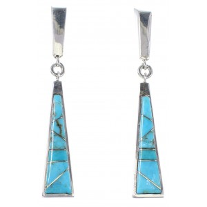 Turquoise Authentic Sterling Silver Post Dangle Earrings AX94584
