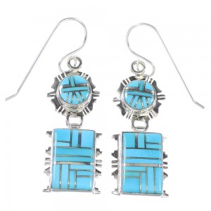 Sterling Silver Southwest Turquoise Inlay Hook Dangle Earrings AX94633