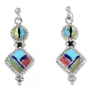 Authentic Sterling Silver Multicolor Jewelry Post Dangle Earrings RX95095