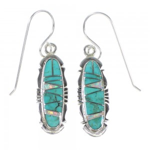 Opal And Turquoise Authentic Sterling Silver Hook Dangle Earrings AX94819