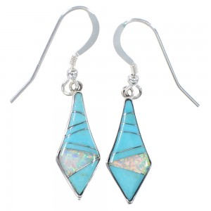 Silver Southwest Opal And Turquoise Inlay Hook Dangle Earrings AX94827