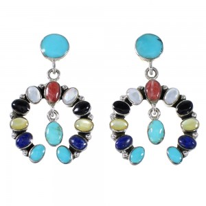Sterling Silver Multicolor Southwestern Naja Post Dangle Earrings AX94899