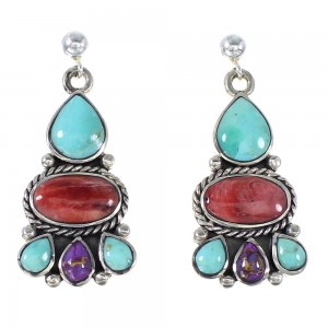 Turquoise And Red Oyster Shell Authentic Sterling Silver Post Dangle Earrings AX94904