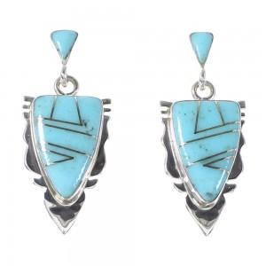 Turquoise Inlay Genuine Sterling Silver Arrowhead Post Dangle Earrings AX94844