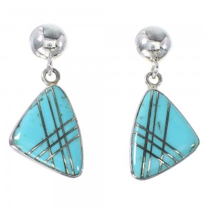 Silver Turquoise Inlay Southwest Post Dangle Earrings AX94868