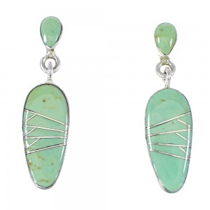 Turquoise Inlay Jewelry Silver Post Dangle Earrings AX94939
