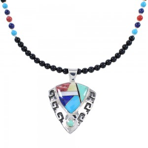 Multicolor Sterling Silver Waterwave And Arrowhead Necklace Set AX94878