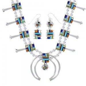 Multicolor Sterling Silver Southwest Squash Blossom Necklace Set AX94401