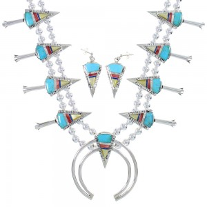 Multicolor Silver Water Wave And Arrowhead Squash Blossom Necklace Set AX94403