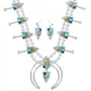 Multicolor Silver Arrowhead Squash Blossom Necklace Set AX94409