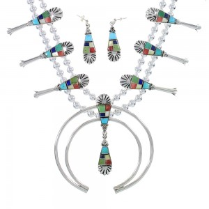 Multicolor Inlay Genuine Sterling Silver Squash Blossom Necklace Set AX94410