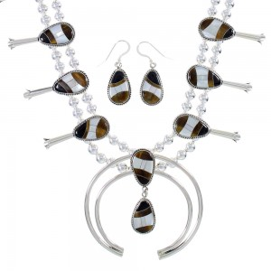 Silver Multicolor Inlay Squash Blossom Necklace Set AX94427