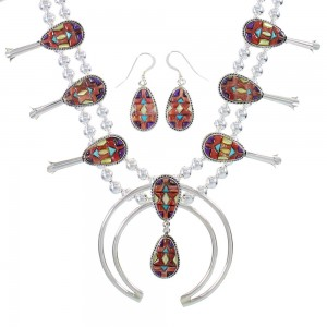 Silver Southwestern Multicolor Inlay Squash Blossom Necklace Set AX94433