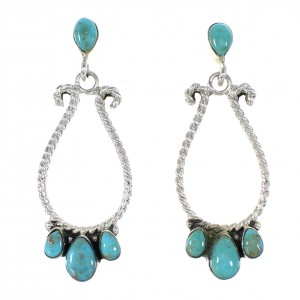 Silver Southwest Turquoise Jewelry Post Dangle Earrings AX95132