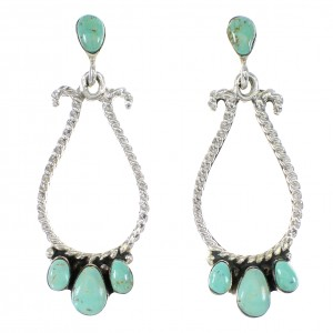 Authentic Sterling Silver Southwest Turquoise Jewelry Post Dangle Earrings AX95136