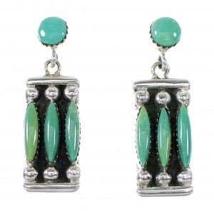 Sterling Silver Jewelry Turquoise Southwest Needlepoint Post Dangle Earrings AX95157