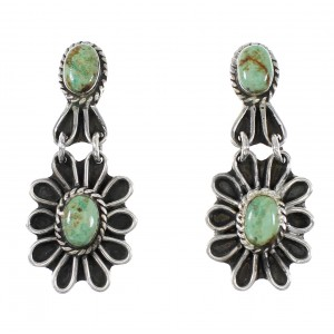 Turquoise Silver Flower Post Dangle Earrings AX95182