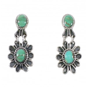 Southwestern Turquoise Authentic Sterling Silver Flower Post Dangle Earrings AX95186