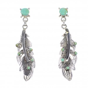 Turquoise Sterling Silver Feather Post Dangle Earrings AX95194