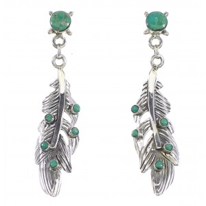 Silver Feather Southwest Turquoise Jewelry Post Dangle Earrings AX95206