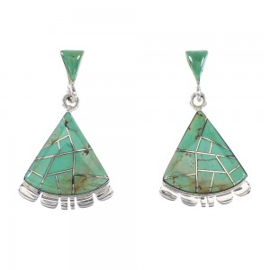 Sterling Silver Turquoise Southwest Post Dangle Earrings AX95581