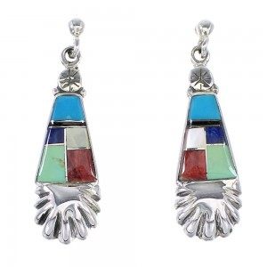 Sterling Silver Multicolor Post Dangle Earrings AX95337