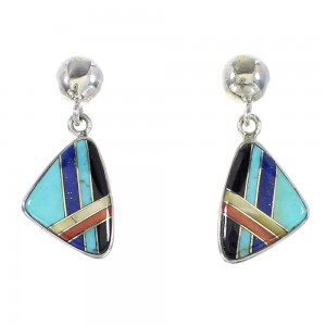 Authentic Sterling Silver Multicolor Inlay Post Dangle Earrings AX95339
