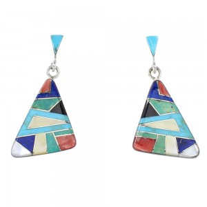 Silver Multicolor Inlay Southwestern Post Dangle Earrings AX95348