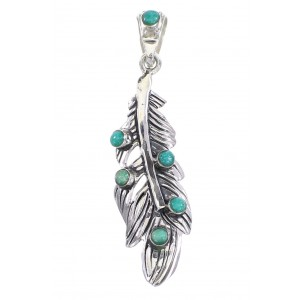 Sterling Silver And Turquoise Feather Pendant RX95260