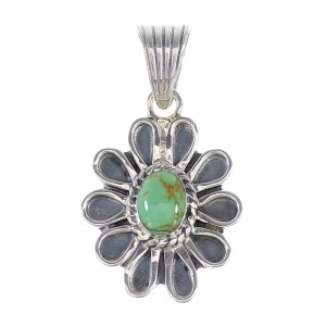 Genuine Sterling Silver Turquoise Flower Pendant RX95277
