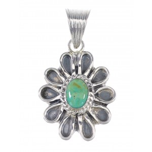 Authentic Sterling Silver And Turquoise Flower Pendant RX95280