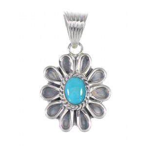 Turquoise Silver Southwestern Flower Pendant AX95306