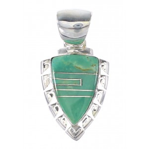 Turquoise Silver Southwest Waterwave And Arrowhead Pendant AX95468