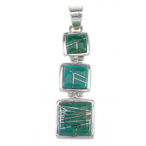 Silver Turquoise Southwestern Pendant AX95517