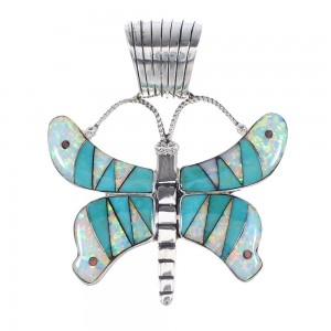 Sterling Silver Multicolor Inlay Butterfly Pendant RX95467
