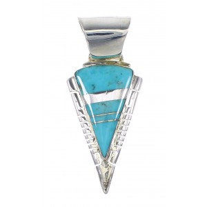 Turquoise Silver Water Wave And Arrowhead Pendant AX96490