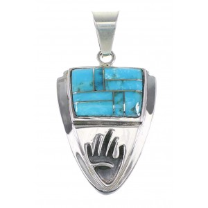 Turquoise Inlay Sterling Silver Hand Arrow Head Pendant AX96553