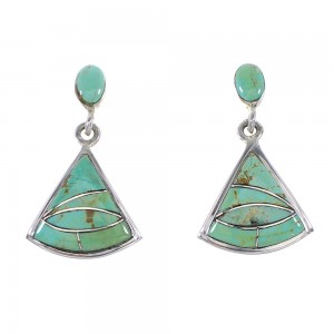 Genuine Sterling Silver Turquoise Inlay Post Dangle Earrings AX95979